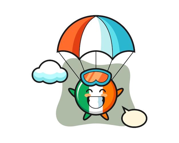 Caricature de mascotte d'insigne de drapeau de l'irlande fait du parachutisme avec un geste heureux