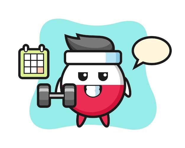 Caricature de mascotte insigne drapeau pologne faisant du fitness avec haltère