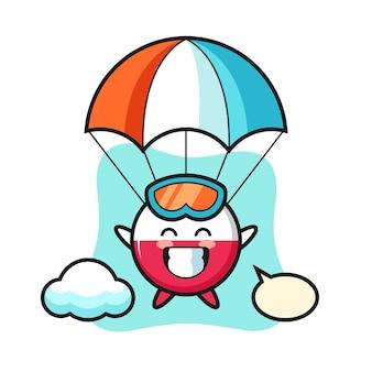 Caricature de mascotte d'insigne de drapeau de pologne fait du parachutisme avec un geste heureux