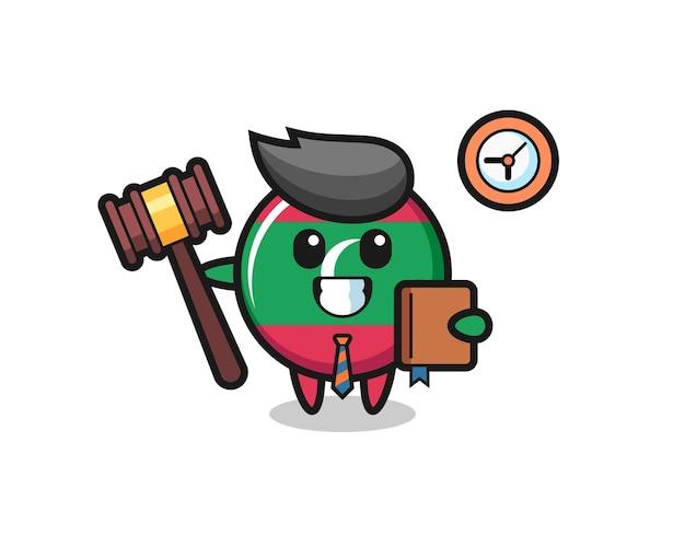 Caricature de mascotte de l'insigne du drapeau des maldives en tant que juge, design mignon