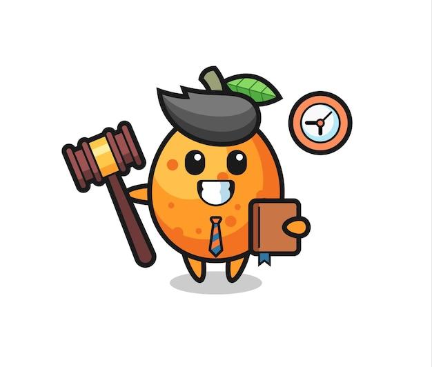 Caricature de mascotte de kumquat en tant que juge, conception de style mignon pour t-shirt, autocollant, élément de logo