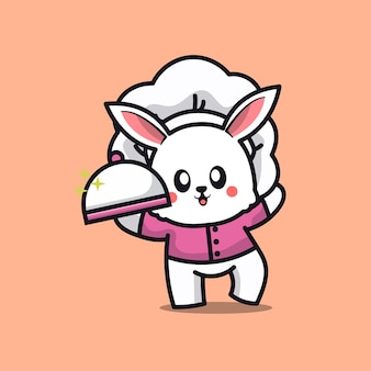 Caricature de mascotte de lapin de chef mignon logo