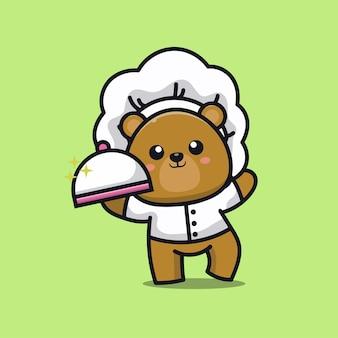 Caricature de mascotte logo mignon chef ours