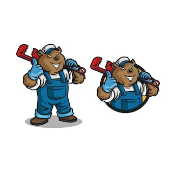 Caricature de mascotte logo plombier ours.