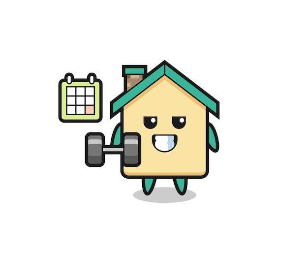 Caricature de mascotte de maison faisant du fitness avec haltère, design mignon