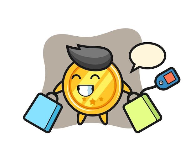 Caricature de mascotte médaille tenant un sac à provisions
