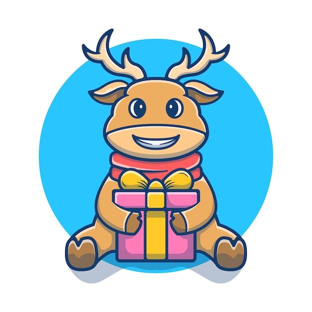 Caricature de mascotte mignon cerf ouvert boîte-cadeau