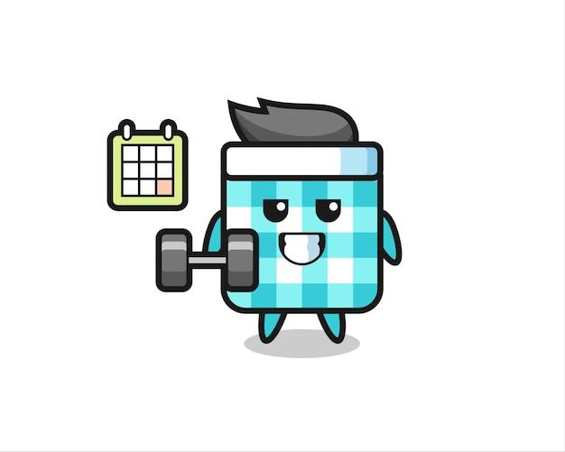 Caricature de mascotte de nappe à carreaux faisant du fitness avec haltère, design de style mignon pour t-shirt, autocollant, élément de logo
