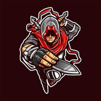 Caricature de mascotte ninja assasins