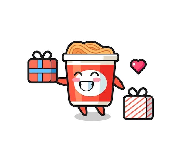 Caricature de mascotte de nouilles instantanées donnant le cadeau, design de style mignon pour t-shirt, autocollant, élément de logo