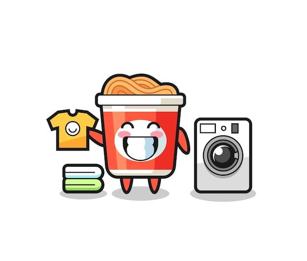 Caricature de mascotte de nouilles instantanées avec machine à laver, design de style mignon pour t-shirt, autocollant, élément de logo