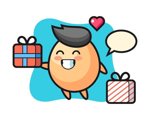 Caricature de mascotte d'oeuf donnant le cadeau, style mignon pour t-shirt, autocollant, élément de logo