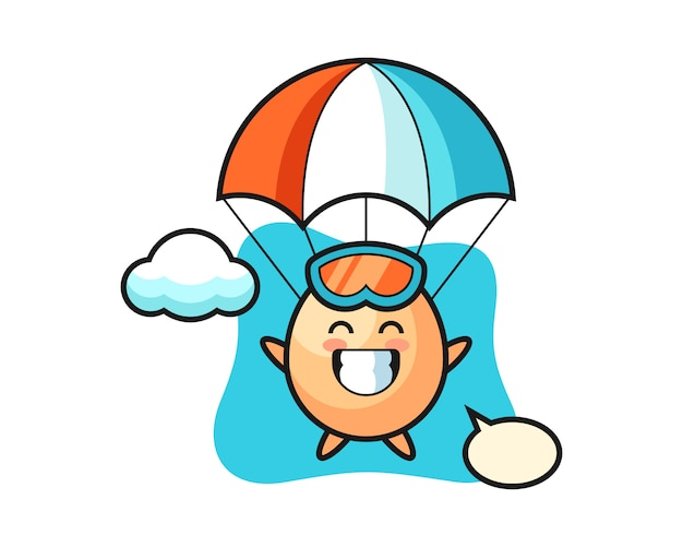 Caricature de mascotte d'oeuf est le parachutisme avec un geste heureux, un style mignon pour un t-shirt, un autocollant, un élément de logo