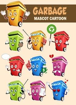 Caricature de mascotte d'ordures