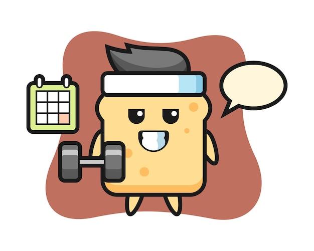 Caricature de mascotte de pain faisant du fitness avec haltère