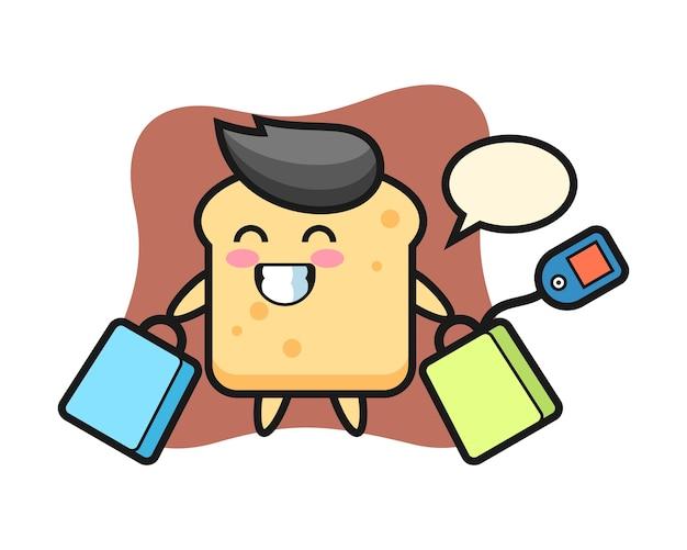 Caricature de mascotte de pain tenant un sac à provisions