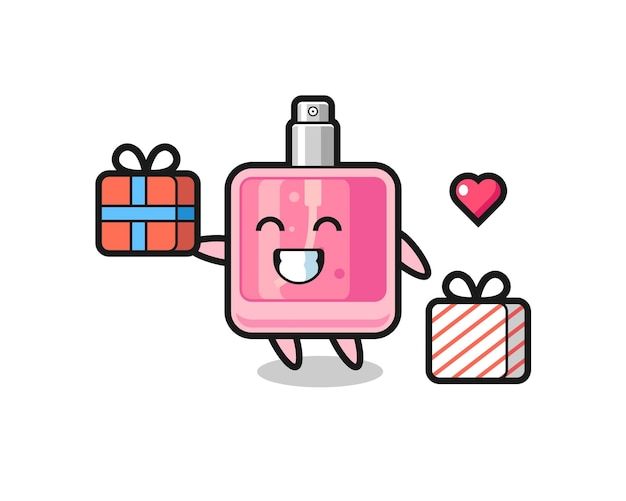Caricature de mascotte de parfum donnant le cadeau, design de style mignon pour t-shirt, autocollant, élément de logo