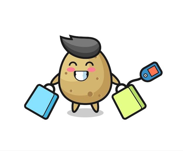 Caricature De Mascotte De Pomme De Terre Tenant Un Sac à Provisions, Design De Style Mignon Pour T-shirt, Autocollant, élément De Logo Vecteur Premium