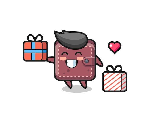 Caricature de mascotte de portefeuille en cuir donnant le cadeau