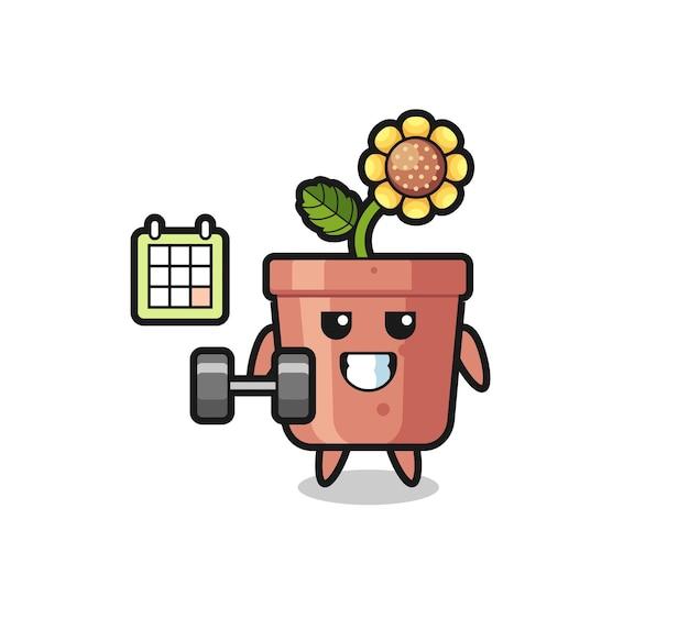 Caricature de mascotte de pot de tournesol faisant du fitness avec haltère, design de style mignon pour t-shirt, autocollant, élément de logo