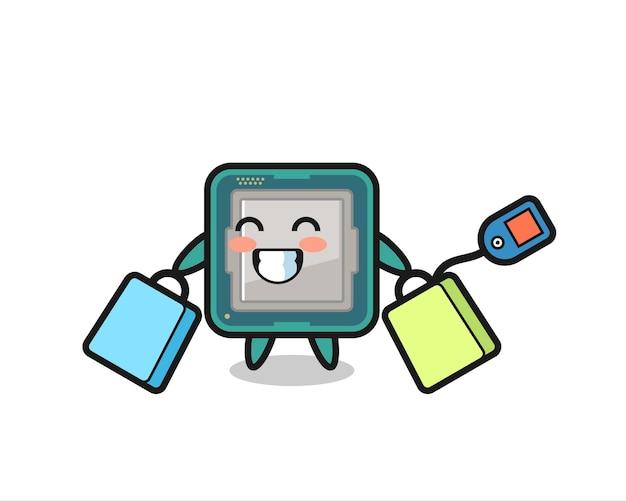 Caricature de mascotte de processeur tenant un sac à provisions, design de style mignon pour t-shirt, autocollant, élément de logo