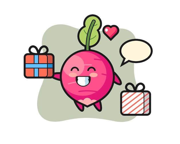Caricature de mascotte de radis donnant le cadeau, design de style mignon pour t-shirt, autocollant, élément de logo