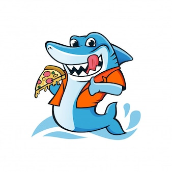 Caricature de mascotte de requin
