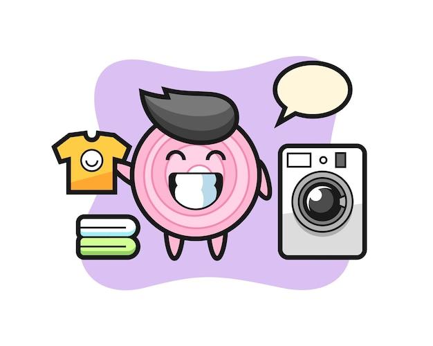 Caricature de mascotte de rondelles d'oignon avec machine à laver, design de style mignon pour t-shirt, autocollant, élément de logo