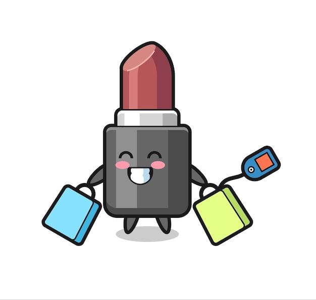 Caricature de mascotte de rouge à lèvres tenant un sac à provisions, design de style mignon pour t-shirt, autocollant, élément de logo
