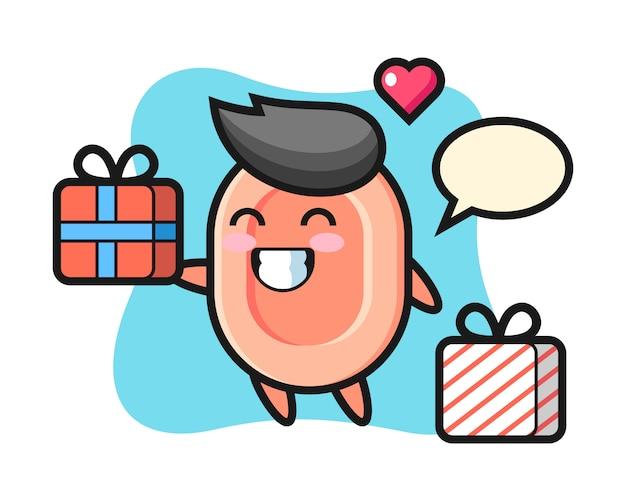 Caricature de mascotte de savon donnant le cadeau, style mignon pour t-shirt, autocollant, élément de logo