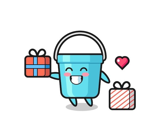 Caricature de mascotte de seau en plastique donnant le cadeau, design de style mignon pour t-shirt, autocollant, élément de logo