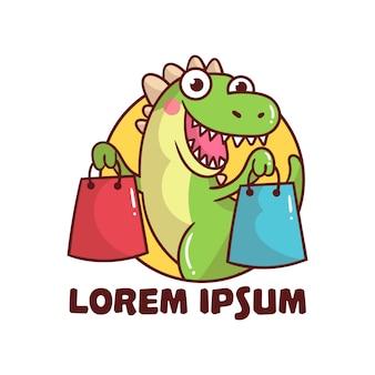 Caricature de mascotte shopping logo dinosaure mignon