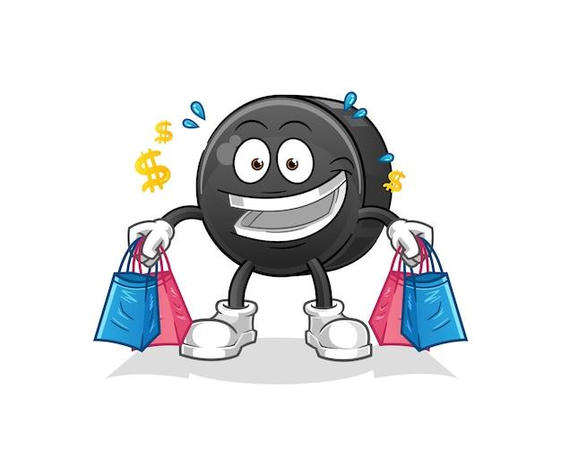 Caricature de mascotte shopping rondelle de hockey