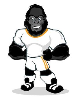 Caricature de mascotte de sport de gorille en vecteur