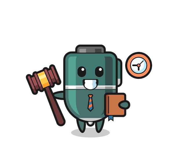 Caricature de mascotte de stylo à bille en tant que juge, design mignon