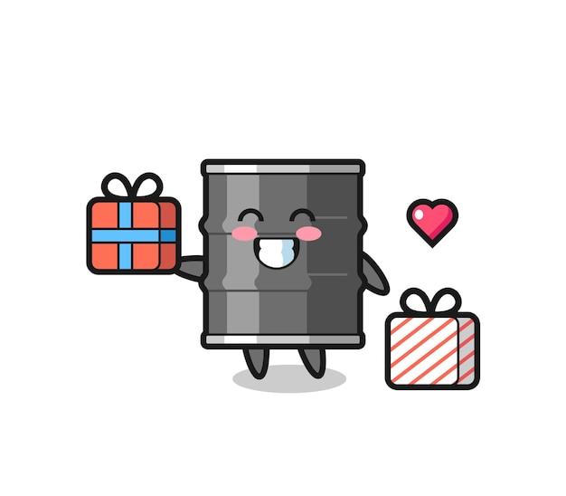 Caricature de mascotte de tambour à huile donnant le cadeau, design mignon