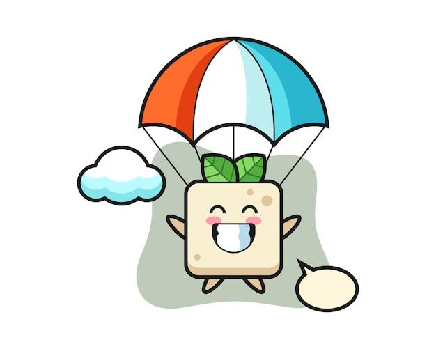 La caricature de mascotte de tofu fait du parachutisme avec un geste heureux, un design de style mignon pour un t-shirt