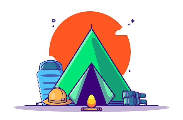 Caricature de matériel de camping. style de bande dessinée plat