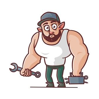 Caricature de mécanicien costaud