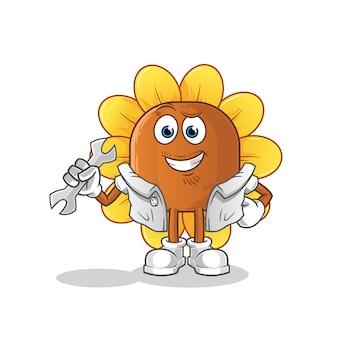 Caricature de mécanicien de fleur de soleil