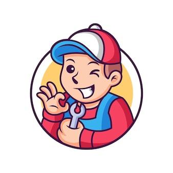 Caricature de mécanicien avec pose mignonne. icône illustration. concept d'icône de personne isolé