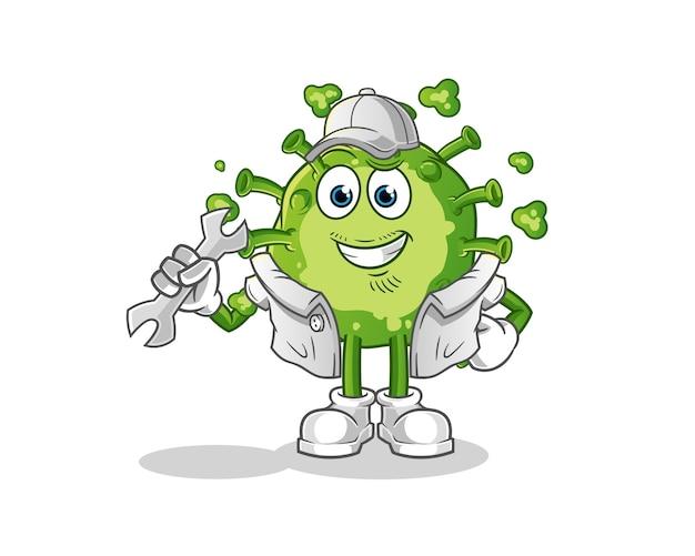 Caricature de mécanicien de virus.