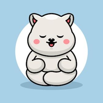 Caricature de méditation mignon bébé ours polaire