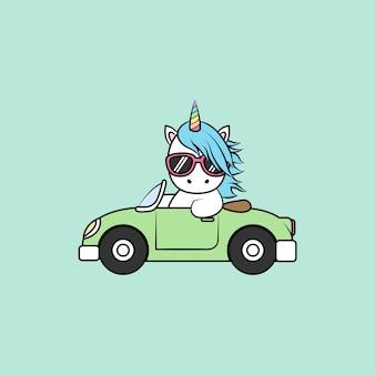Caricature mignonne de conduite de voiture de licorne