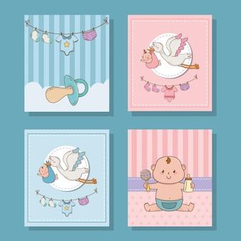 Caricature mignonne de douche de bébé
