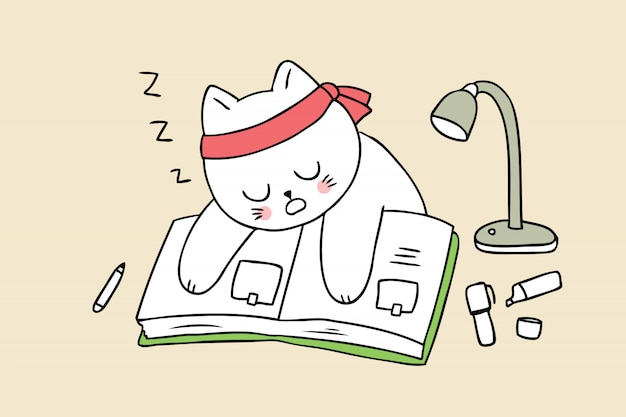 Caricature mignonne de nouveau au chat de l'école dormir