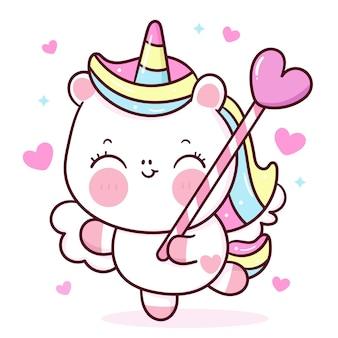 Caricature mignonne de pégase de licorne tenant des bonbons de coeur pour l'animal kawaii de saint valentin