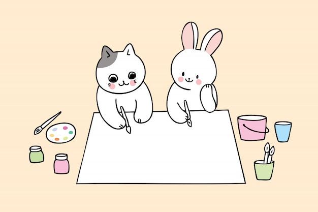 Caricature mignonne de retour au chat et au lapin d'école en classe d'art