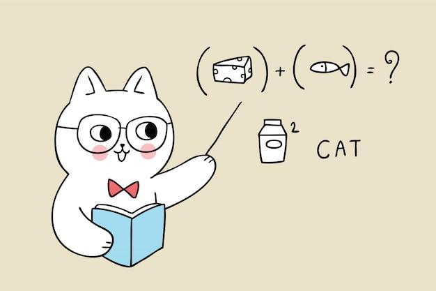 Caricature mignonne retour au professeur d'école chat penché