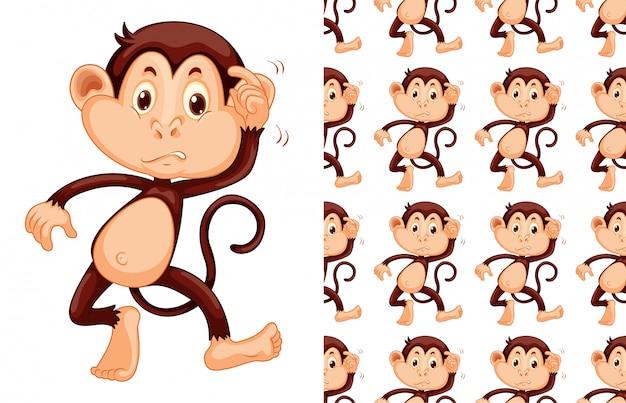 Caricature de modèle animal singe sans soudure
